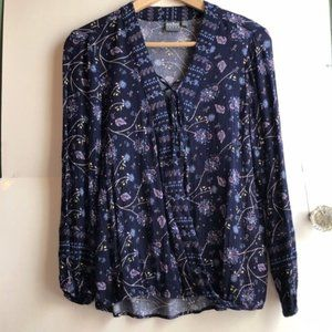 NY&CO Navy Blue Pink Floral Boho Lace Up Wrap Top